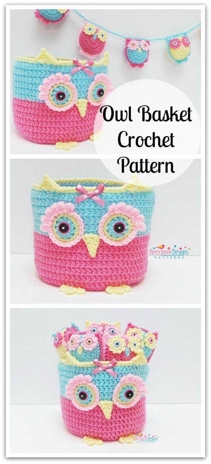 Owl basket family crochet pattern crochet owl basket pattern owl basket family crochet pattern crochet owl basket pattern little owls and bunting crochet bankloansurffo Images