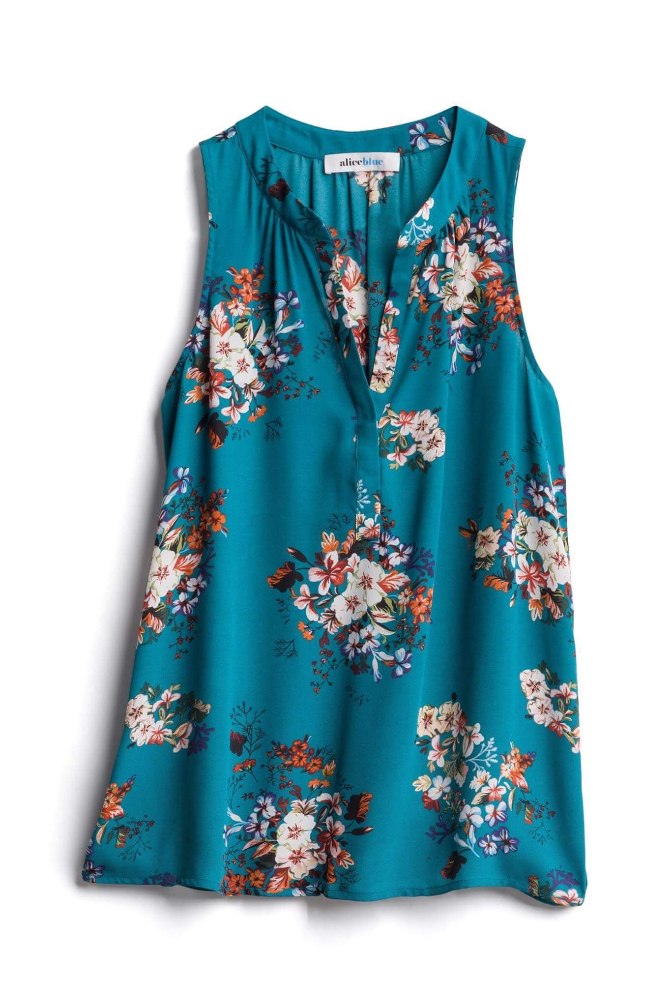 01e14bf87a3 Alice Blue Teal Floral Sleeveless Blouse - Stitch Fix Style Shuffle -  Affiliate Link Included