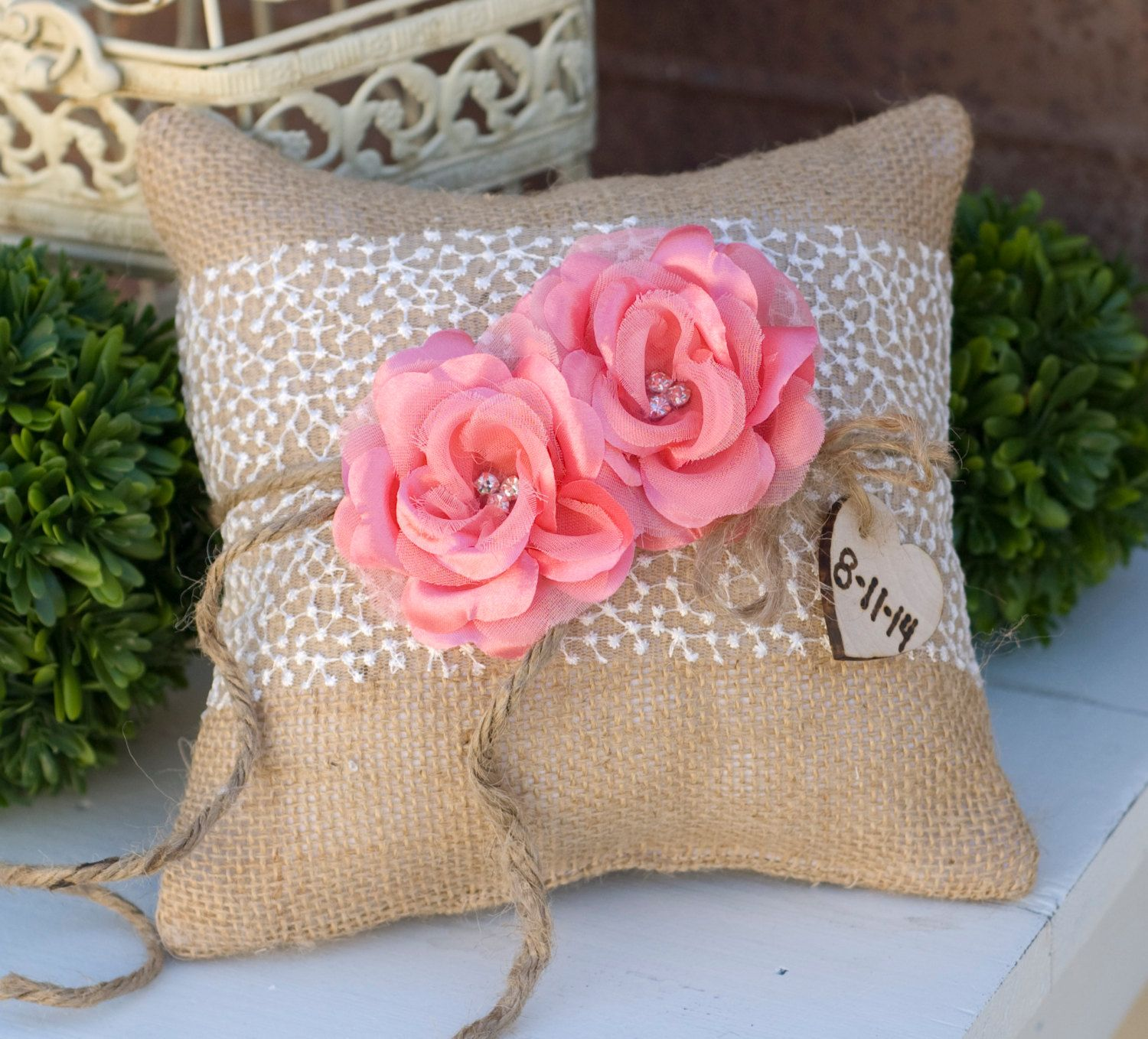 Choose Your Colors Burlap with Lace Shabby Chic Ring Bearer Pillow ...