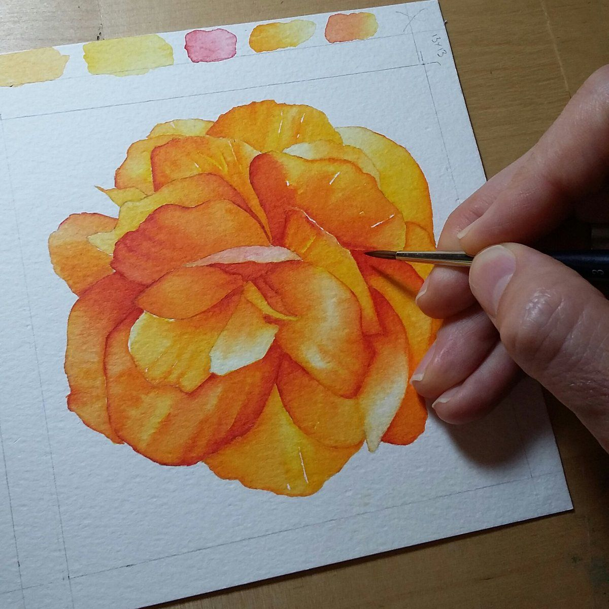 gee @geemassamArt   Finished the flower - so happy with the warm palette!  #painting #watercolourmarkers #StcMill  #watercolourpainting @winsorandnewton