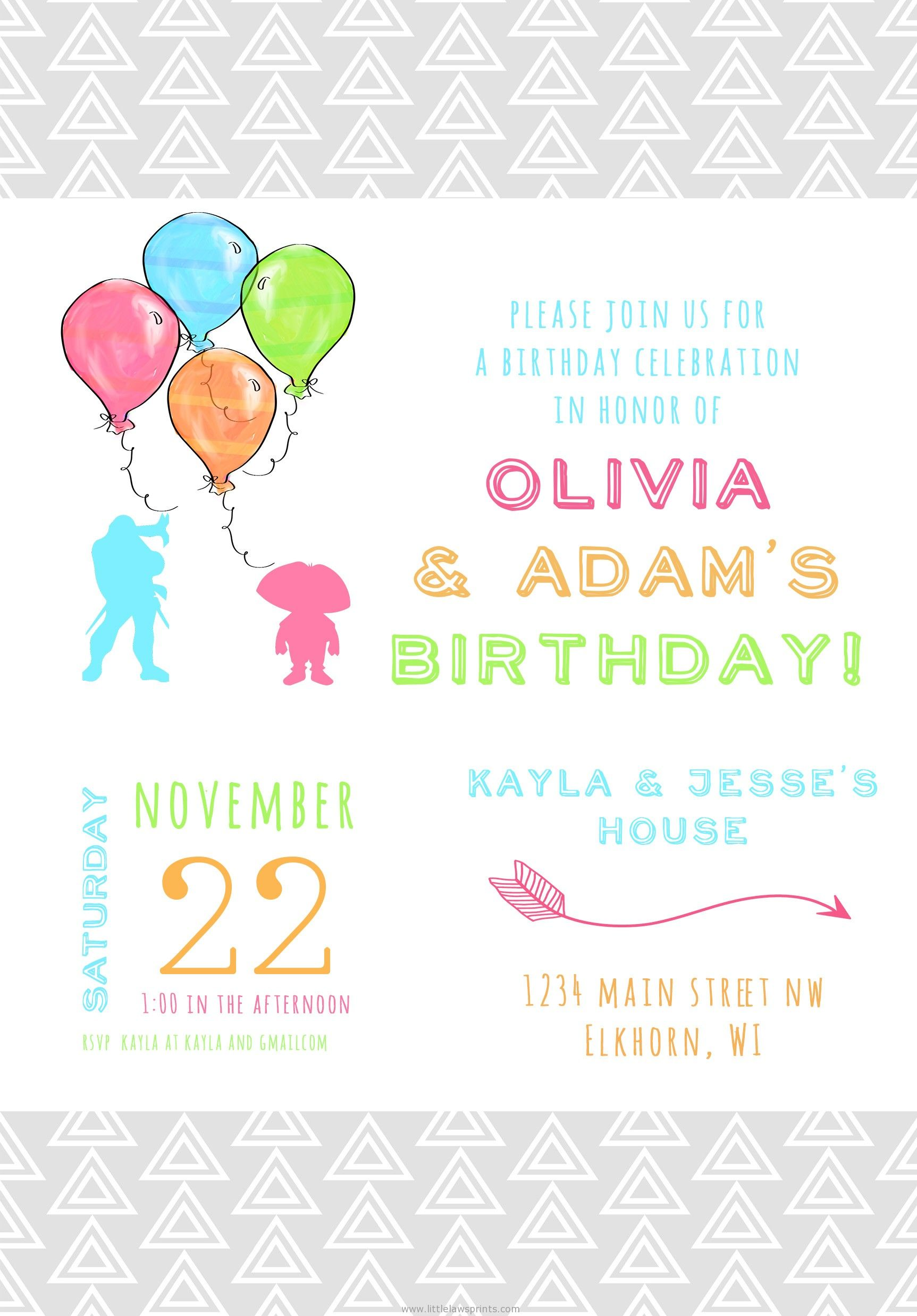 watercolor balloon birthday invitation | paper + ink design ...