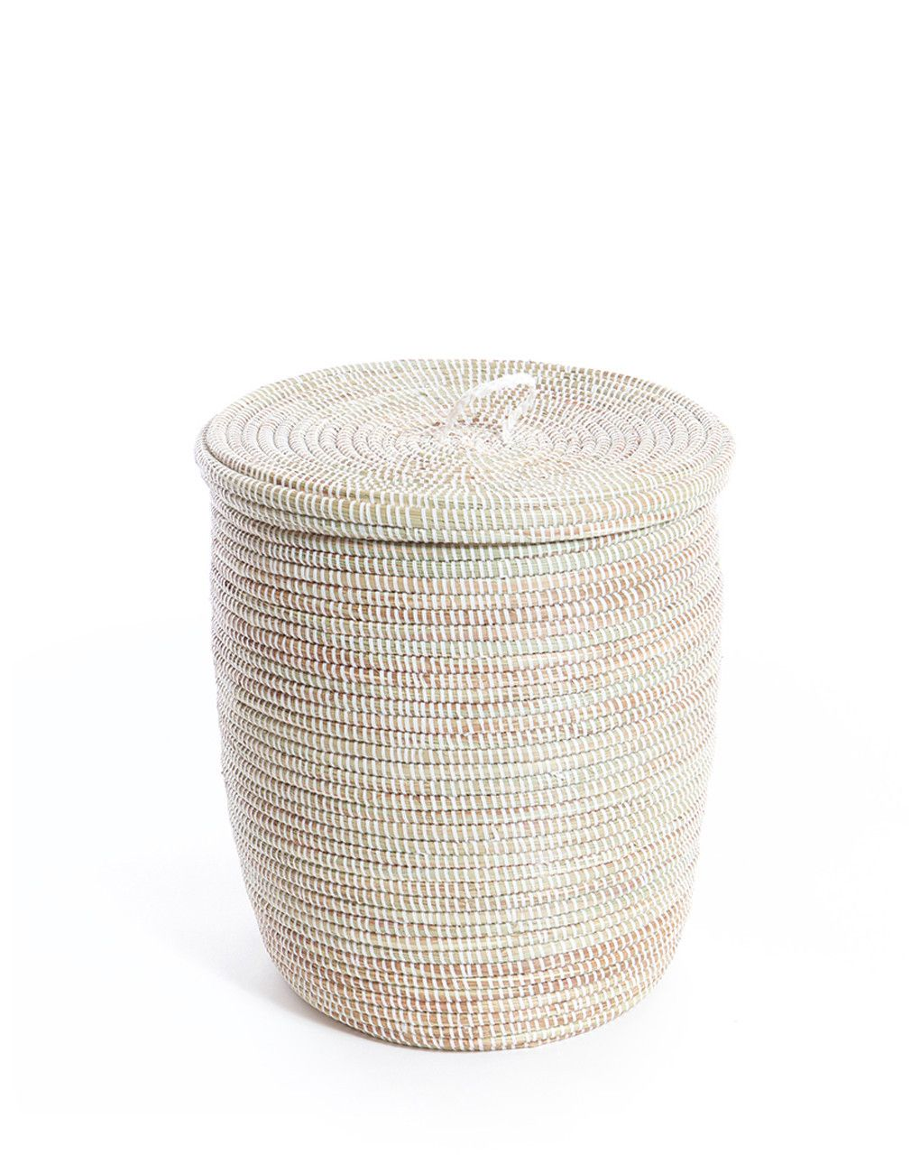 Tall Plastic Laundry Basket Handwoven Grass & Recycled Plastic Tall Hamper Fair Trade  White
