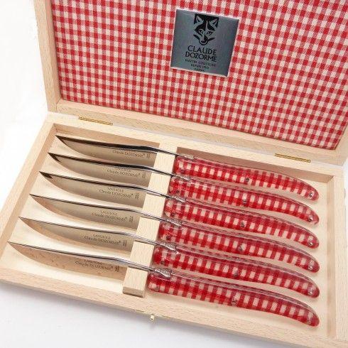 Coffret 6 Couteaux Table Laguiole Dozorme Manche Vichy Vichy Couteau Coffret