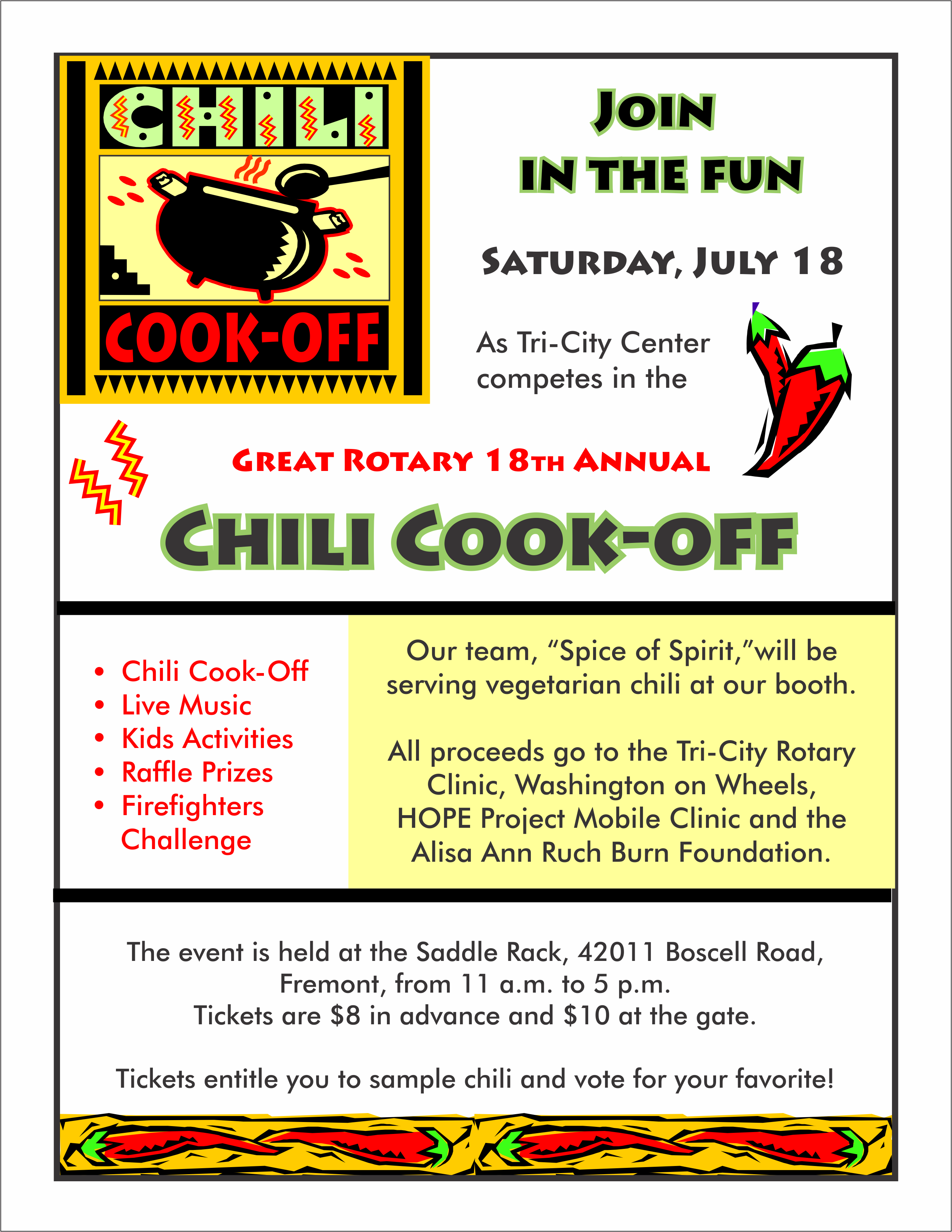 Flyer For Participation In Local Chili Cook Off Chili Cook Off Cook Off Cooking