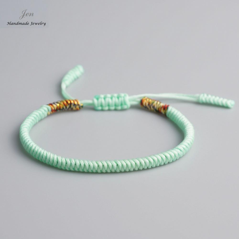 7850988c33bf9 Original 11 Colors Multi Color Tibetan Buddhism Handmade Knot Lucky Rope  Bracelet Blue Mixed Silver Bangle