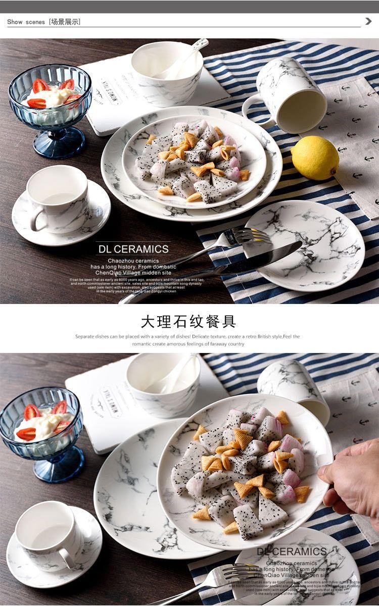 Nordic Marble Plates Square Geschirr Keramik Geschirr Set Gold Inlay Porzellan Dessert Tray St ...