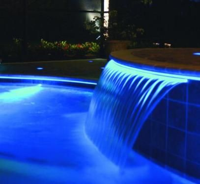 Fibre Optic Illuminated Pool Waterfall Dicas E