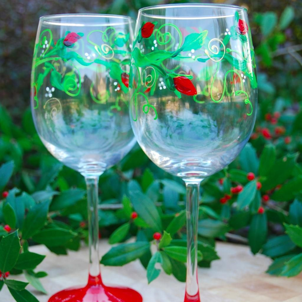 Climbing Rose hand painted wine glasses. Perfect for your Christmas dinner table.