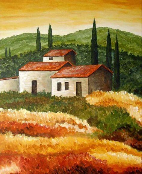 Toskana 4 Landschaften Malen Toskana Und Acryl Malen