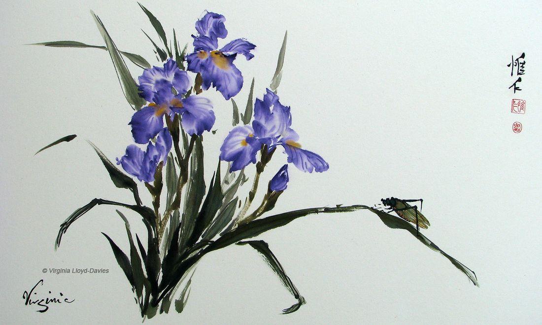 Flowers And Birds Iris Painting Iris Flowers Flower Painting
