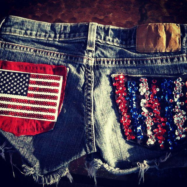 DIY July fourth shorts! Super easy to make!