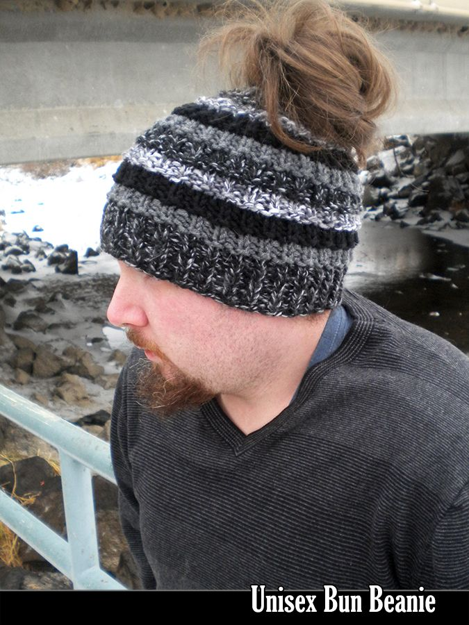 Unisex Bun Beanie Knitting Pattern | Needlework~knit hats ...