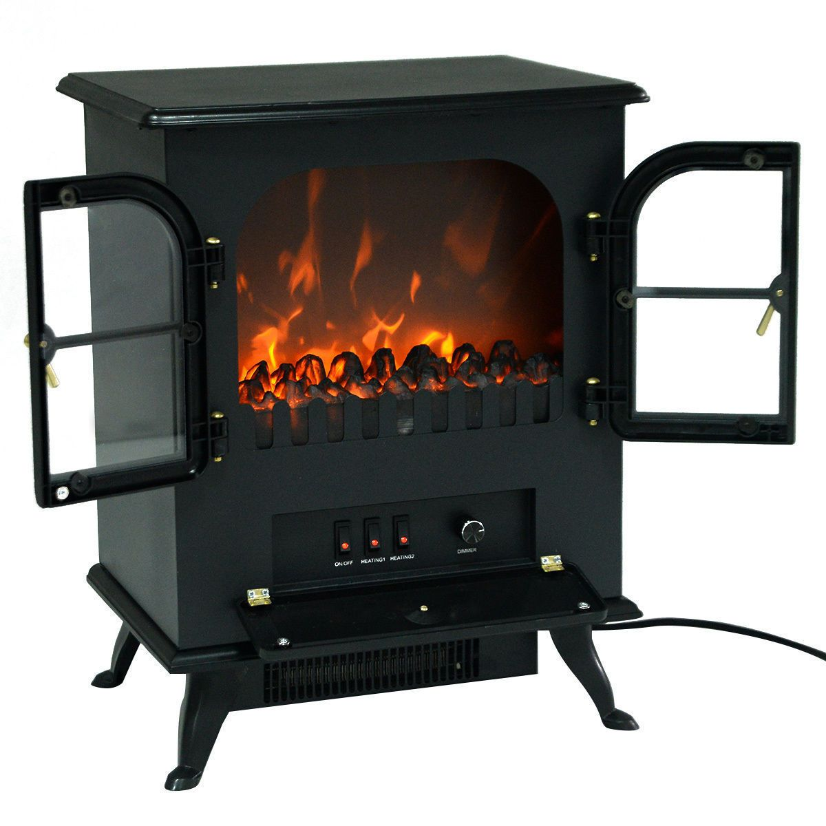 Free standing electric w fireplace heater fire flame stove wood
