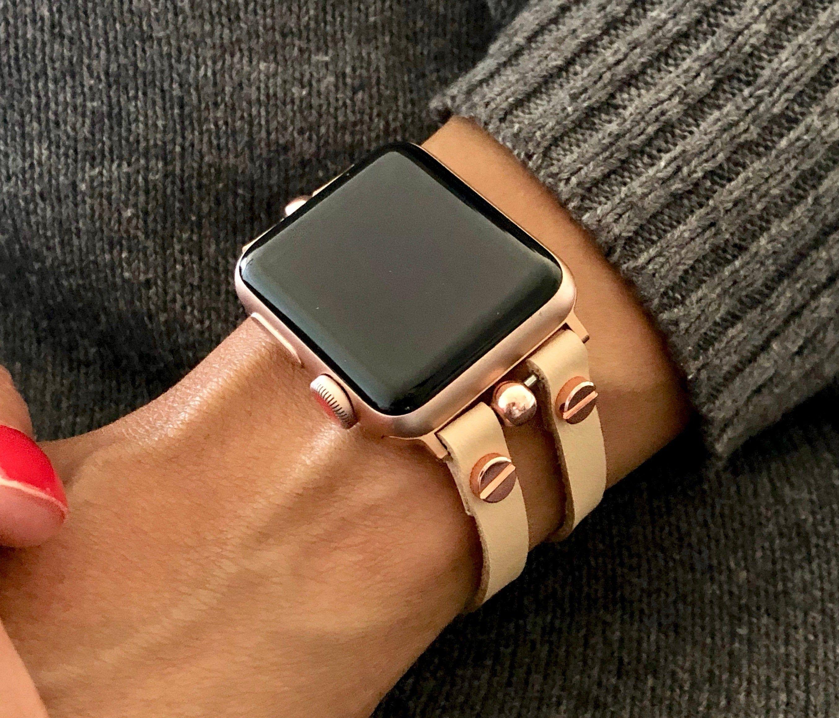 Vegan Leather Apple Watch Bracelet Cream Color Rose Gold Etsy Apple Watch Bands Women Rose Gold Apple Watch Apple Watch Fashion