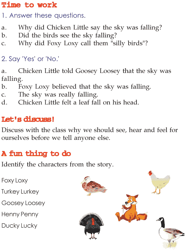 Grade 2 Reading Lesson 16 Fables And Folktales The Sky Is Falling ...