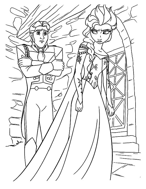 Queen Elsa Is Mad To Prince Hans Coloring Pages Coloring Sun Coloring Pages Prince Hans Queen Elsa