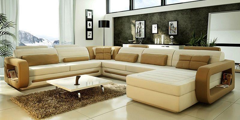Large U Shaped Leather Sectional Sofa