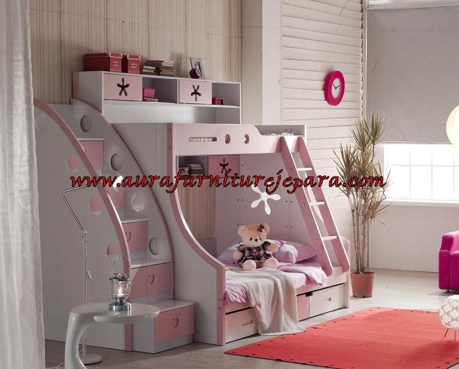 Tempat Tidur Tingkat Anak Warna Pink Ranjang Tingkat Jati Aura