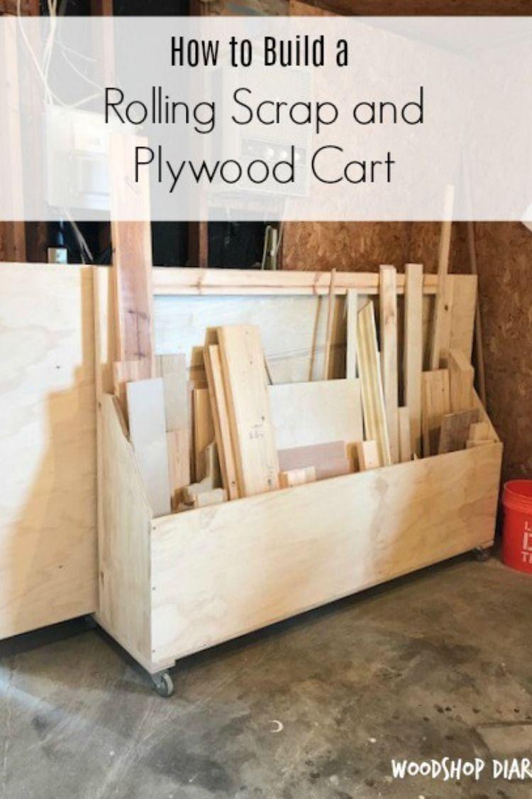 Diy simple mobile shop cart planer stand plywood storage