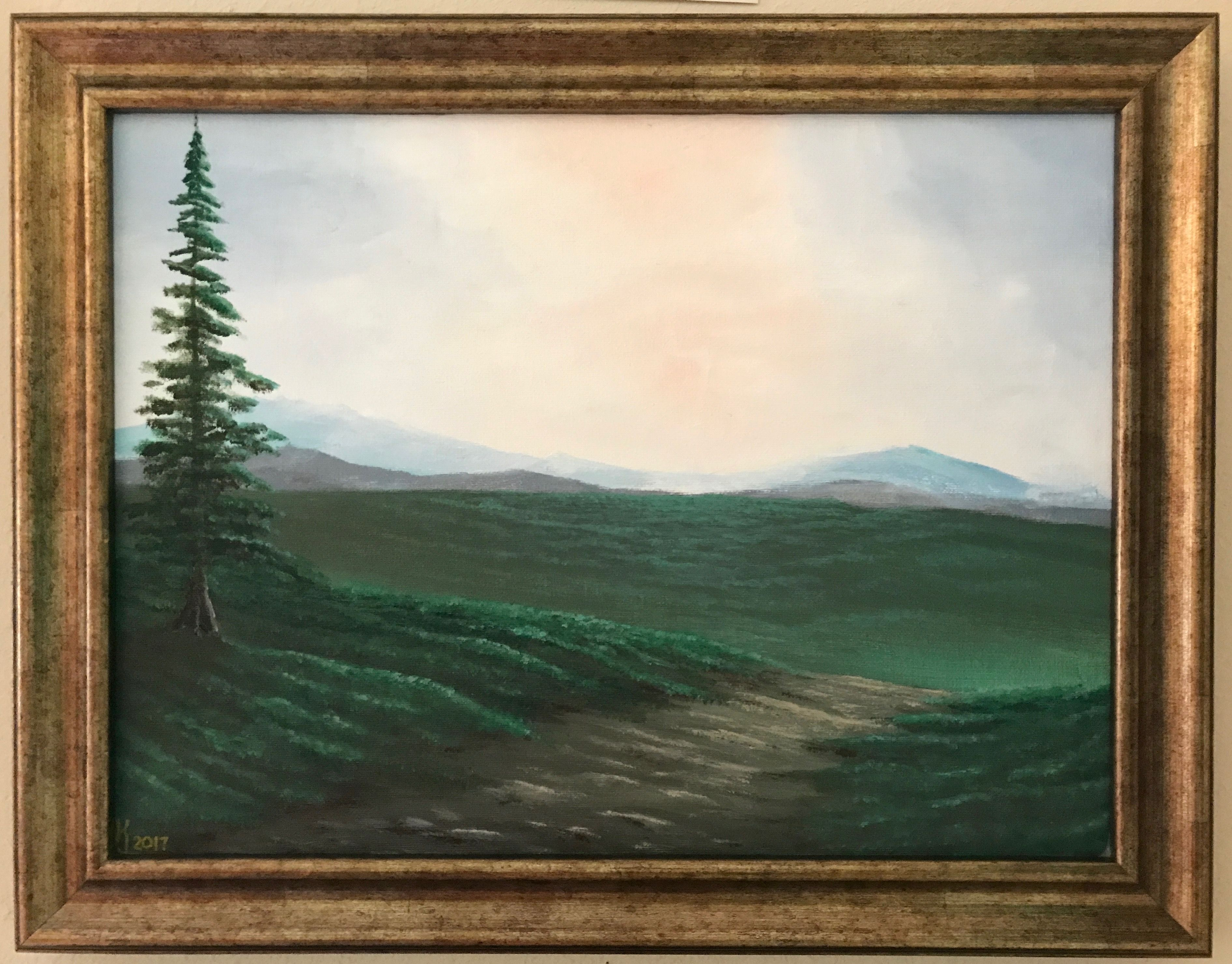 August Pine Original Minimalistic Style Landscape Painting By Kj Burk This Piece Is C Abstract Landscape Painting Landscape Paintings Art World