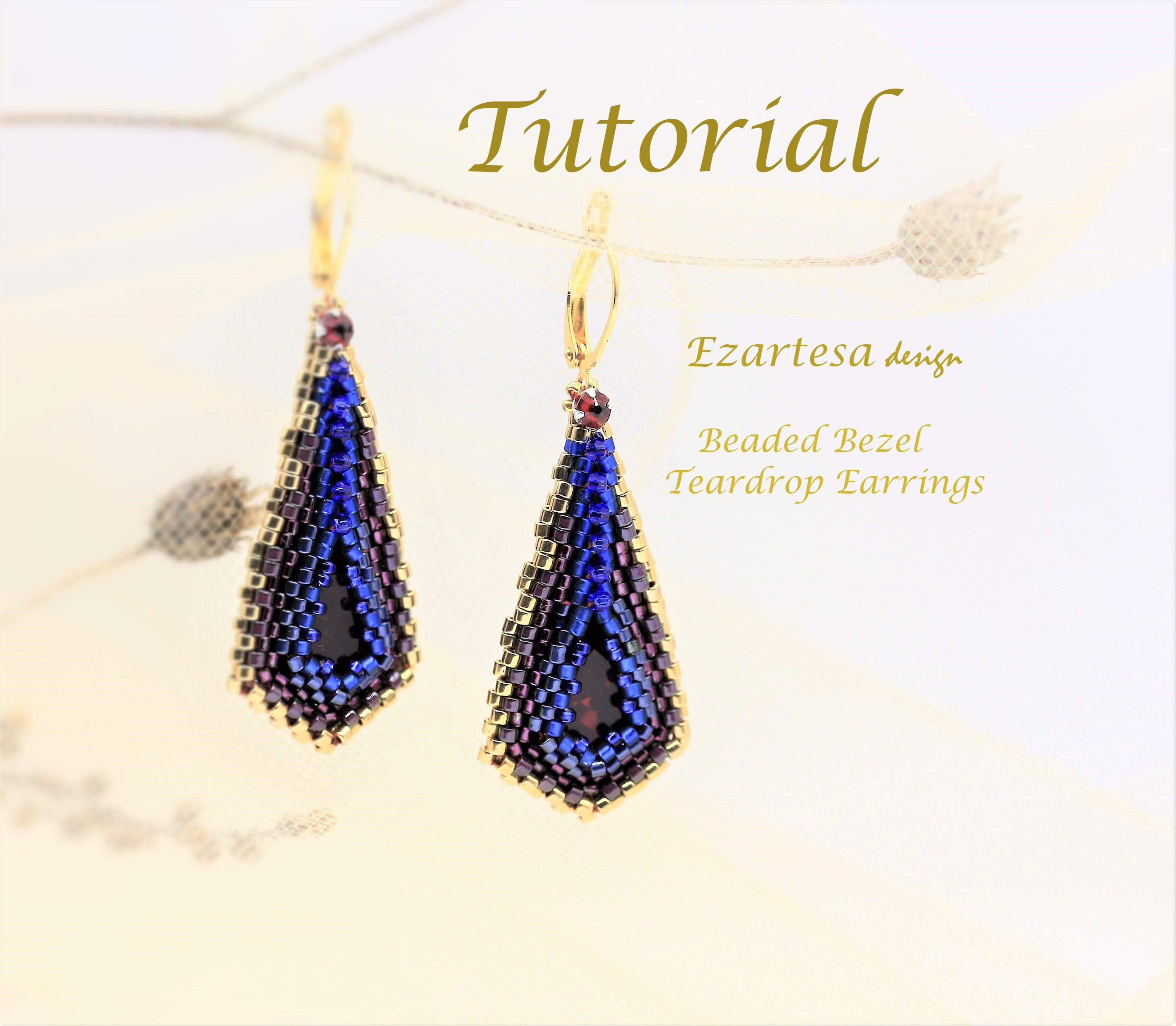 Beaded Bezel Teardrop Earrings Tutorial With Glass Seed Beads And