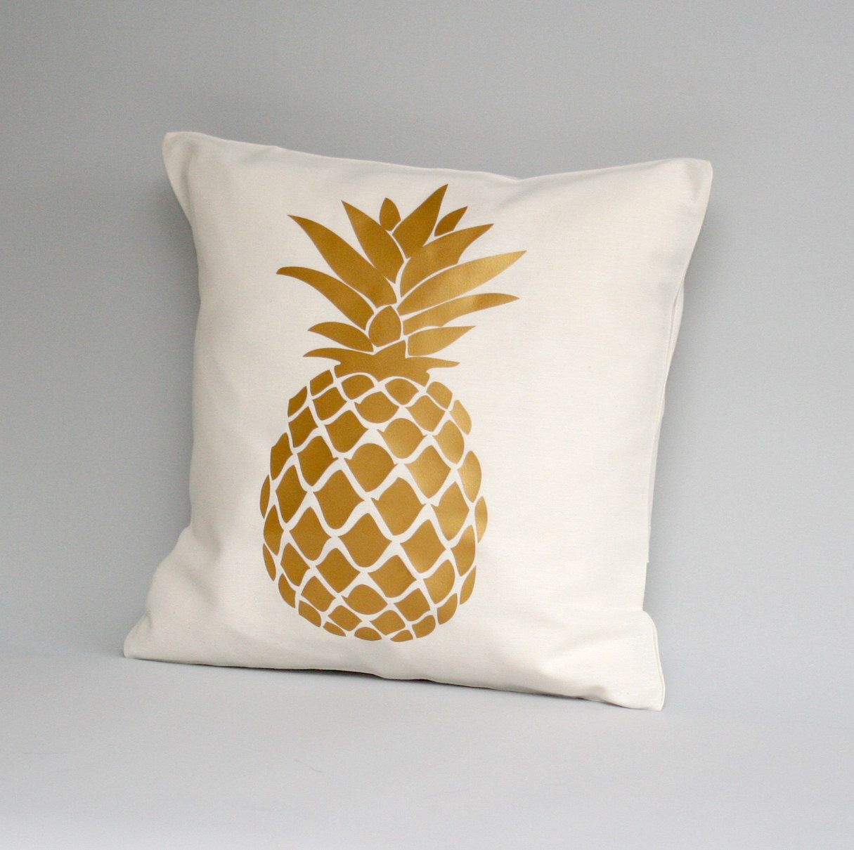 Metallic gold pillow cover - Gold pineapple pillow cover - Throw ...