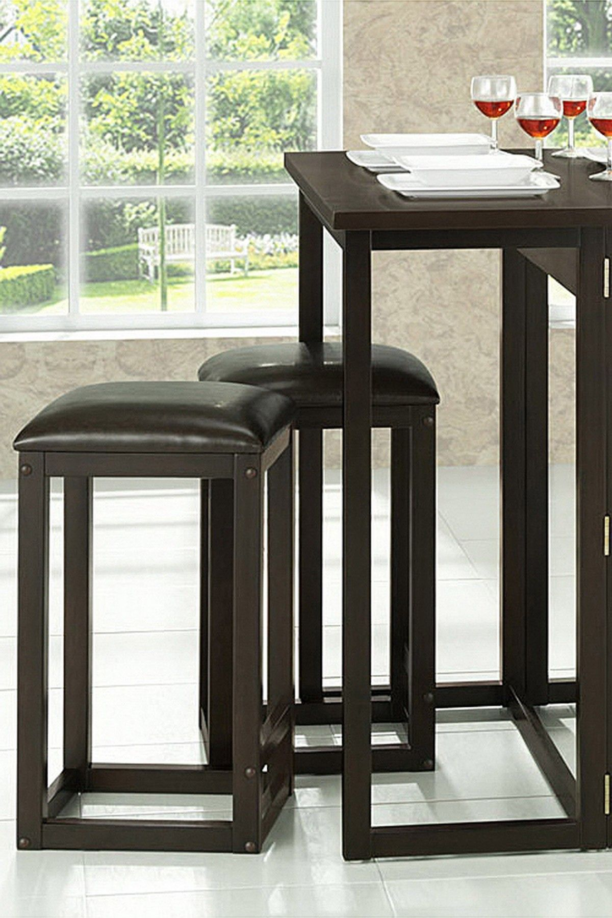 Leeds 5-Piece Brown Wood Collapsible Pub Table Set on @HauteLook ...