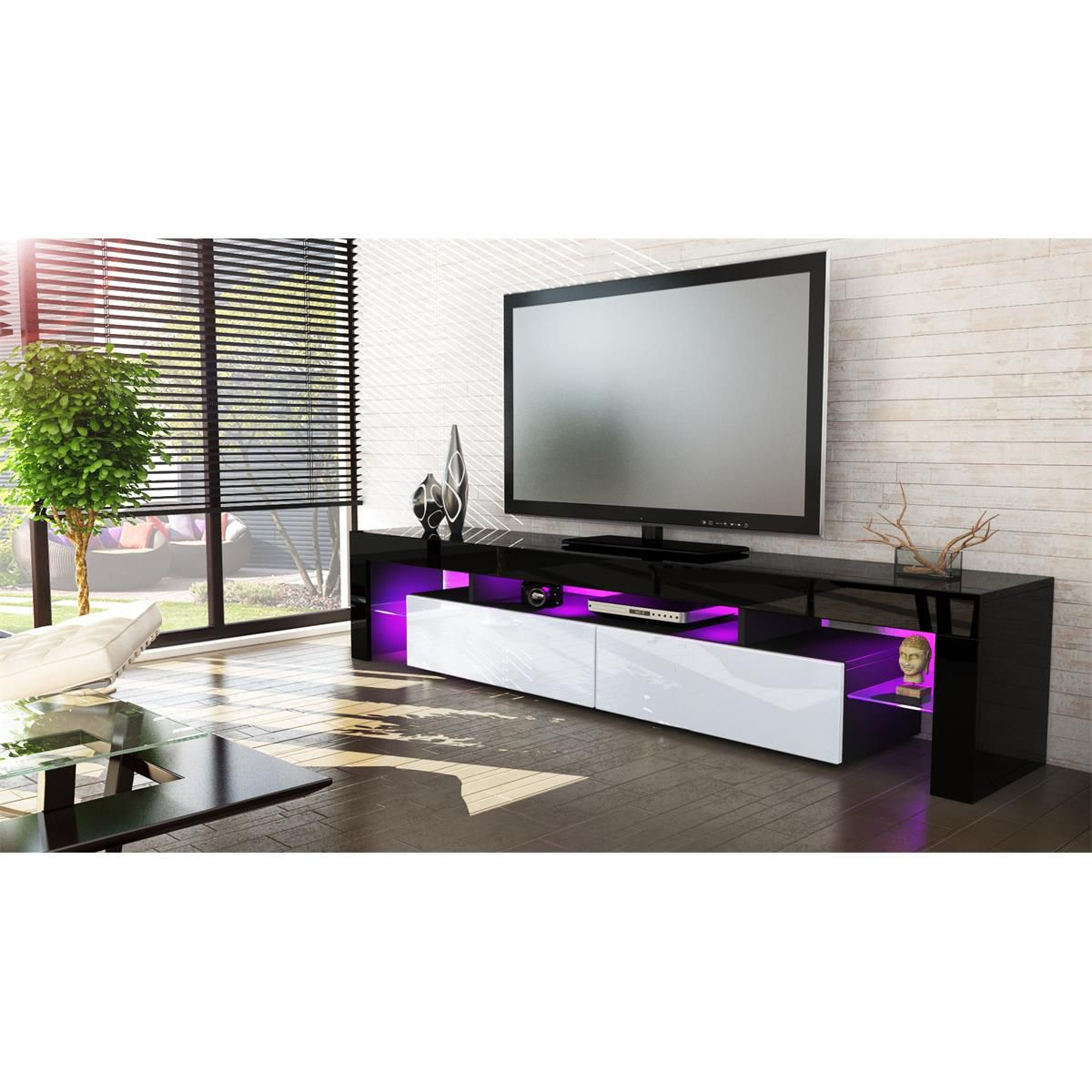 Black tv cabinet. TV stand with 2 closed storage space and two