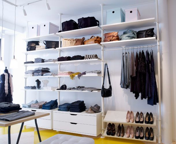 Esposizione all white. STOLMEN white posts, shelves, chest of drawers, shoe racks and clothes rails