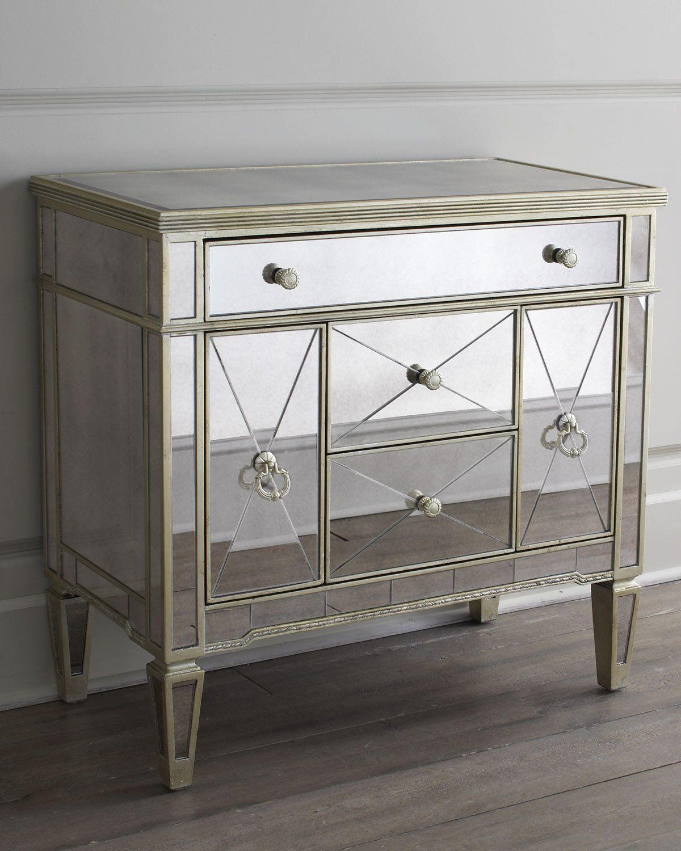Best Amelie Small Mirrored Chest Mirrored Nightstand 400 x 300