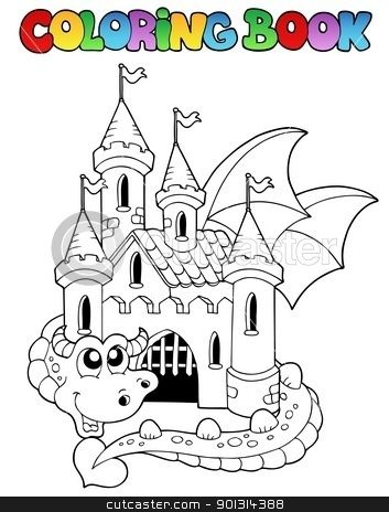 Dragon and castle coloring pages coloring book castle and big dragon stock vector clipart