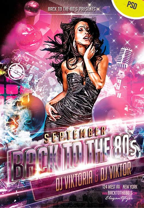 Back To The 80`s Club and Party Free Flyer PSD Template - Free - birthday flyer templates free