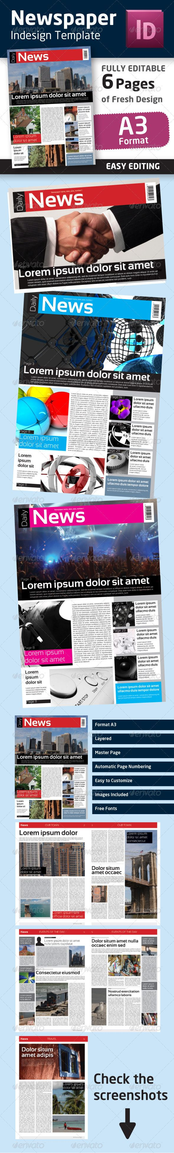 Indesign newspaper template in format a3 newsletters print indesign newspaper template in format a3 newsletters print templates pronofoot35fo Choice Image
