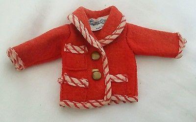 Vintage 1970s Faerie Glen Red Jacket Stripe Trim (Fits Sindy Barbie Tressy)