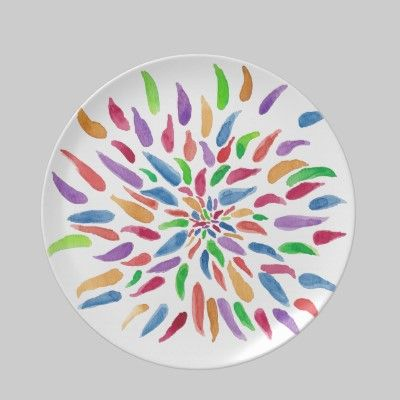 2013 Abstract Floral Melamine Plate Zazzle Com Pottery