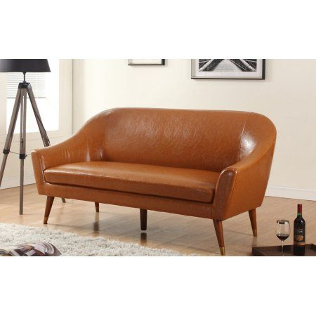 Incredible Mid Century Modern Bonded Leather Living Room Sofa Walmart Pdpeps Interior Chair Design Pdpepsorg