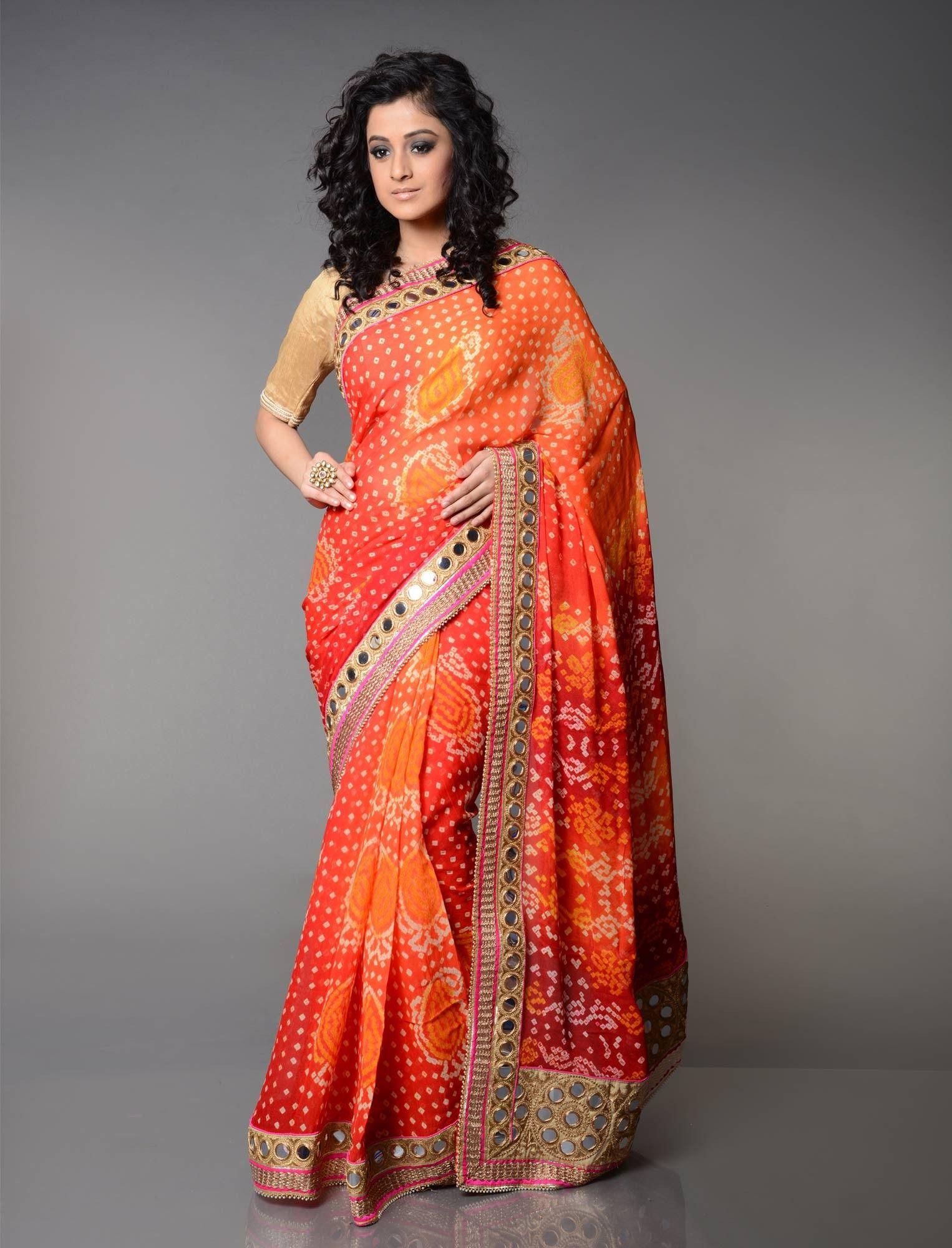 Traditional indian bandhaj Rajasthani Multicolor Bandhani Saree with Blouse Piece  silk saree Regular Unstitched Blouse