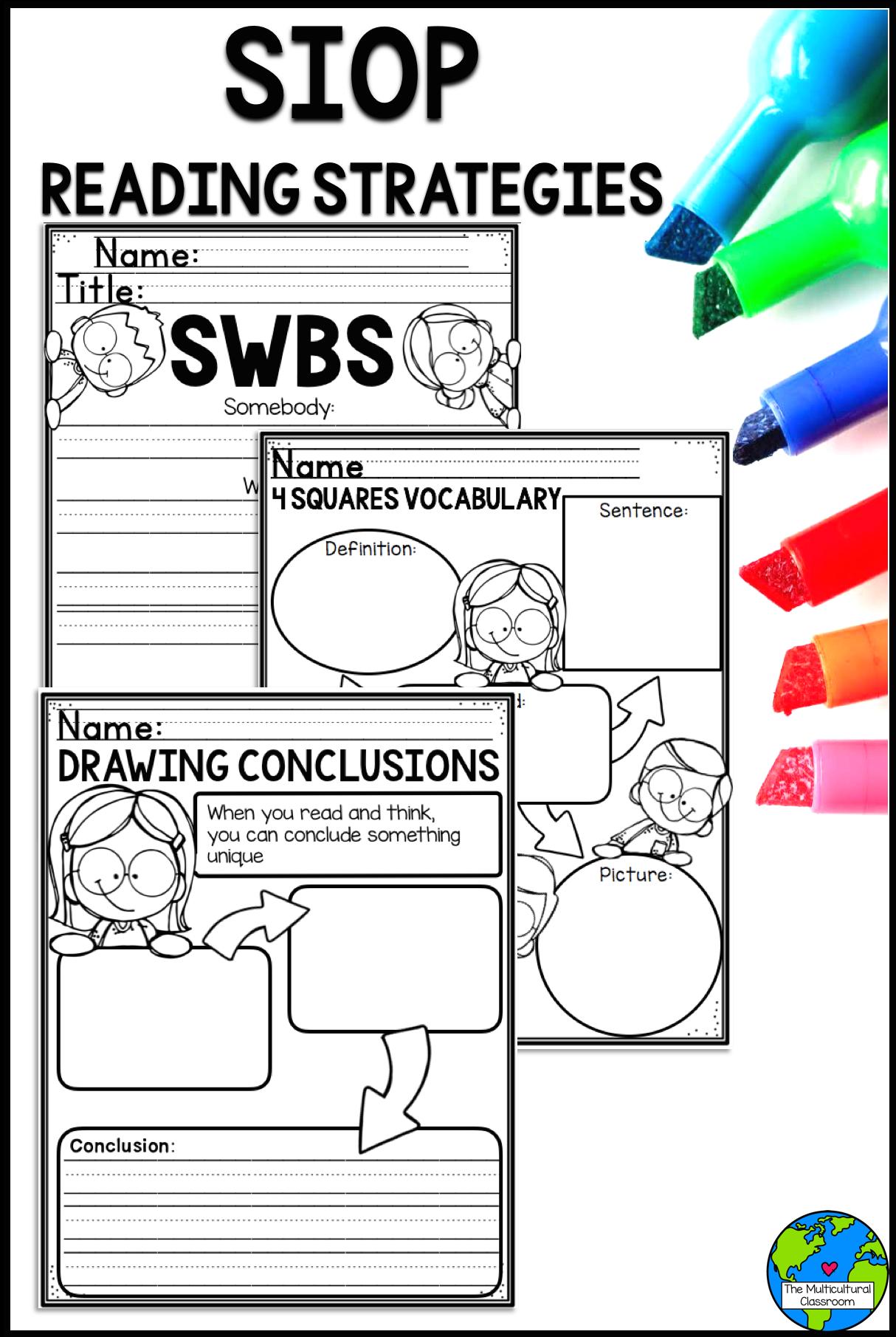 Siop Reading Strategies Worksheets