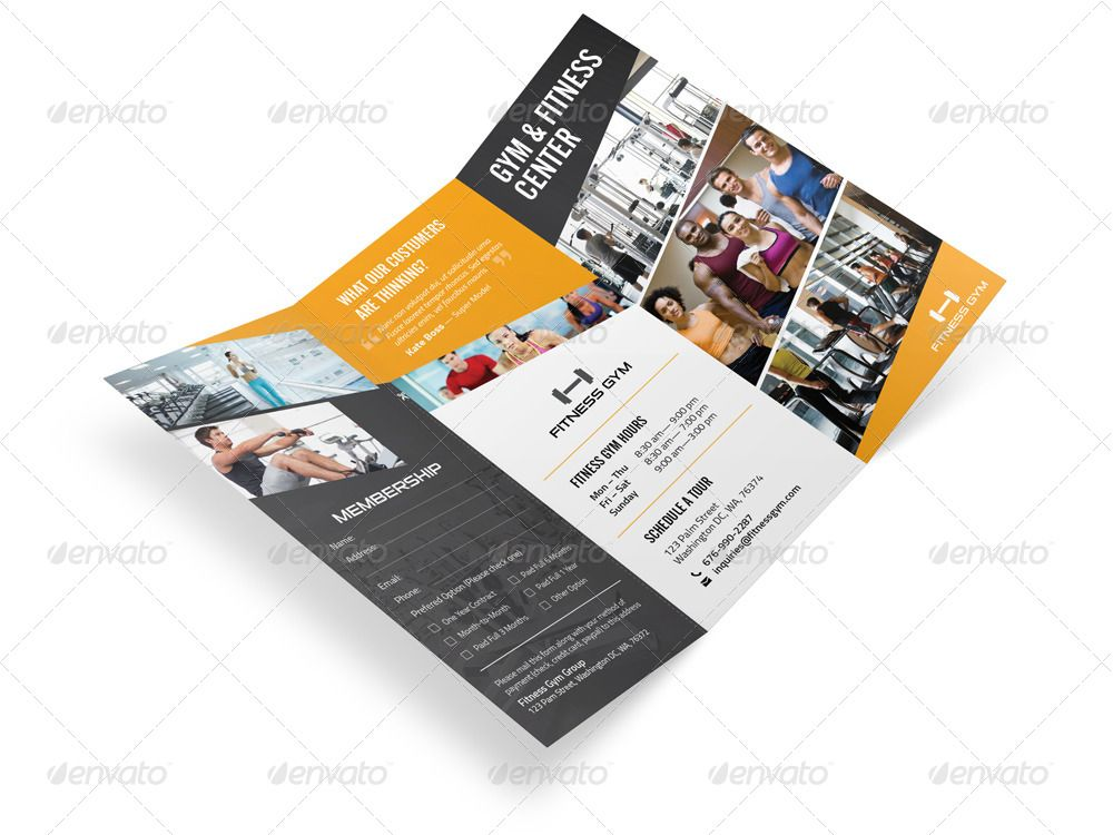 Fitness Gym Trifold Brochure #Affiliate #Gym, #Ad, #Fitness, #Brochure, #Trifold