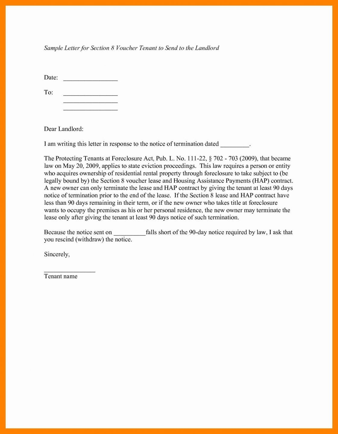 Browse Our Sample of Giving Notice To Tenants Letter Template ...