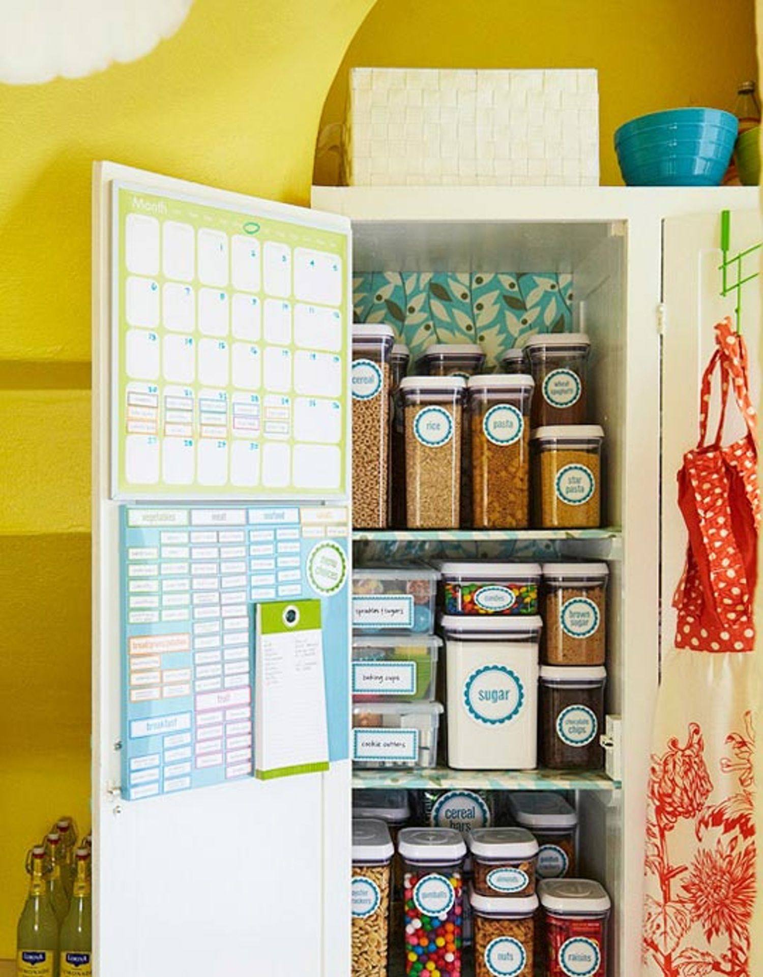 Good idea hang a meal calendar and grocery list inside the pantry