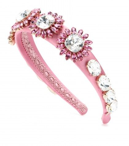 "crystal embellished hair band .  Material: Crystals, Silk, Brass Width approx. 3.5cm-1.5"" Designer colour name: Rosa Antico"