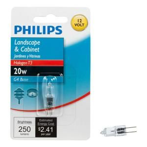 Philips 20 Watt Halogen T3 Mini Bi Pin G4 Base 12 Volt Low Voltage Capsule Light Bulb