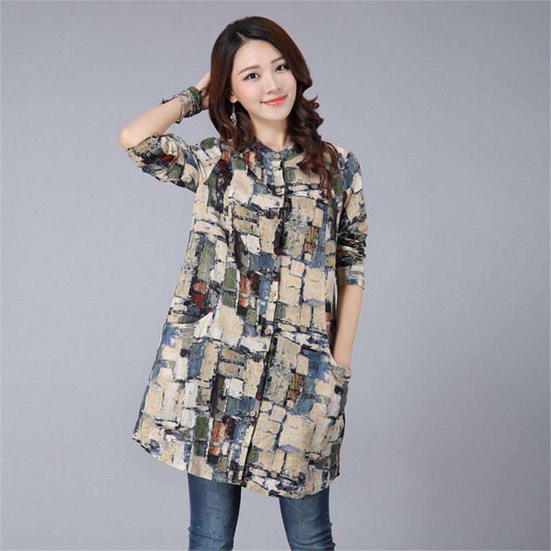 2016 New Spring Autumn Vintange Shirts Women Casual Long Sleeve ...