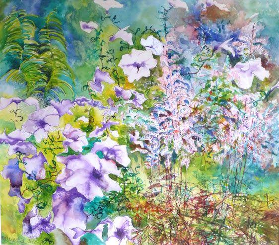 Flowergarden in green, purple, blue, white and red. 'Bloementuin'. Kunst kopen van Maria Westra, 50 x 50 cm, 200 euro. www.kunstkapers.nl info@kunstkapers.nl