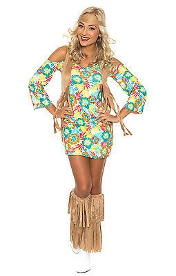 Las 60s 70s Retro Hippie Costume Go Disco Dancer Groovy Fancy Dress