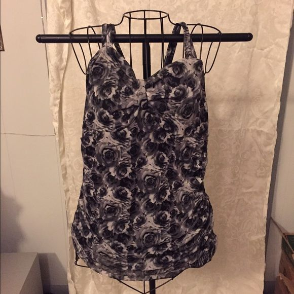 Floral Camisole Lovely black and grey floral camisole. Cute detail at neckline. No damage. True to size XL. Maurices Tops Camisoles
