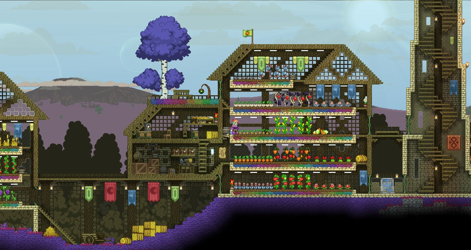 Starbound Neat Way Of Doing The Roof Terraria And