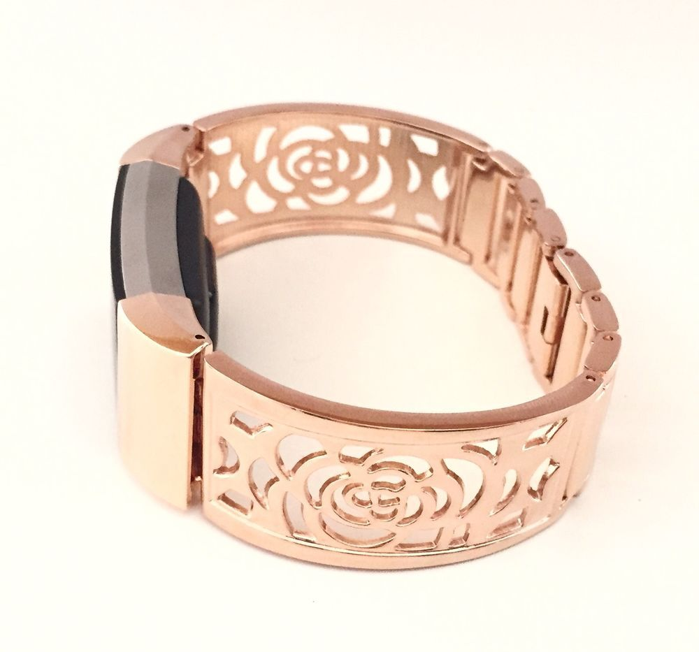 Metal Rose Gold Flowers Design Band for Fitbit Charge 2