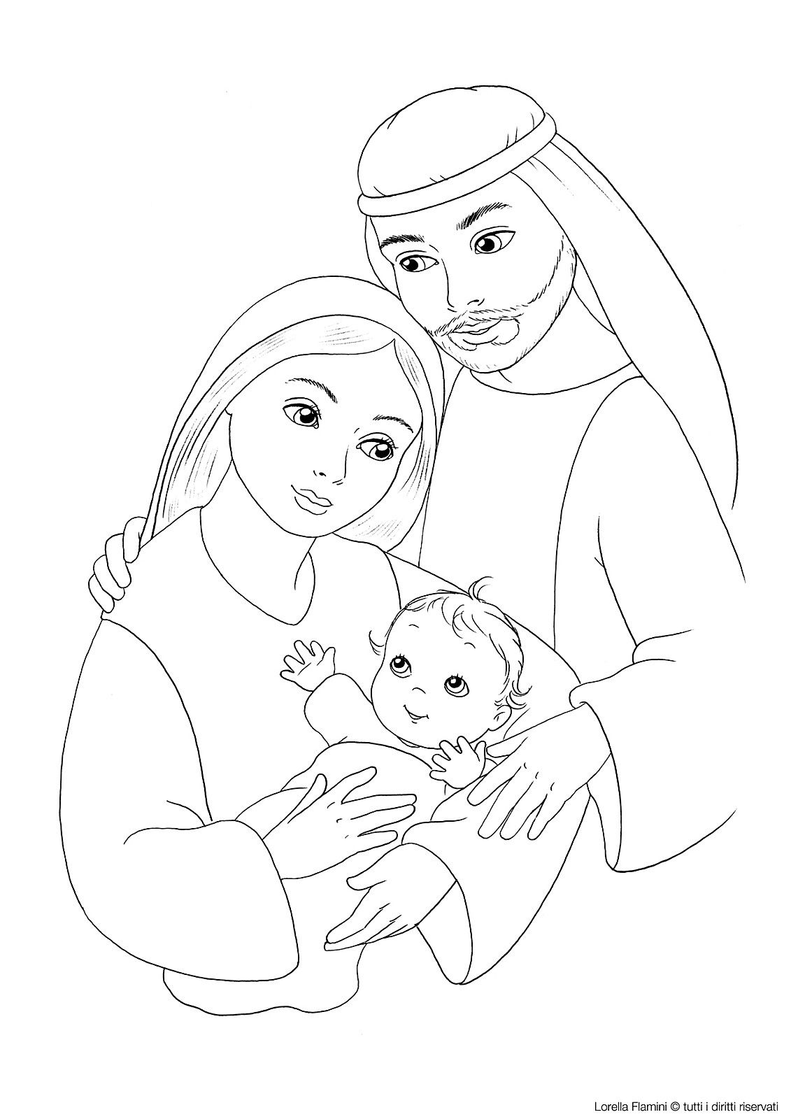 Jesus Mary And Joseph Coloring Page With Images